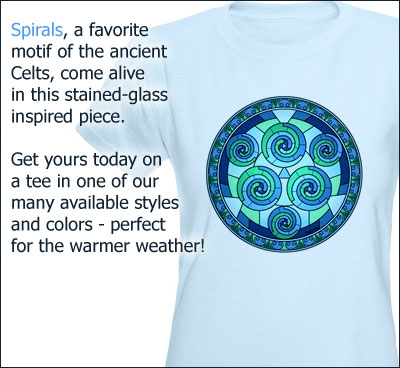 Spirals, a favorite motif of the ancient Celts, come alive in this stained-glass inspired piece. Get yours today on a tee in one of our many available styles and colors - perfect for the warmer weather!